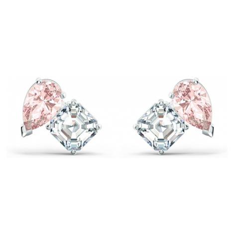 Attract Soul Pierced Earrings, Pink, Rhodium plated Swarovski