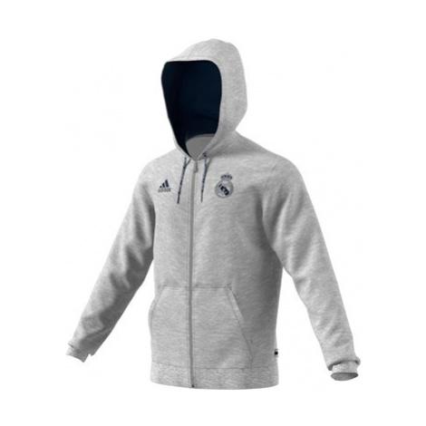 Real Madrid Full Zip Hoodie - Grey Marl Adidas