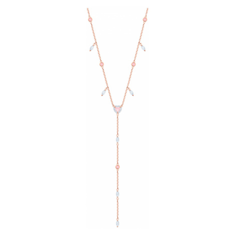 One Y Necklace, Multi-coloured, Rose-gold tone plated Swarovski