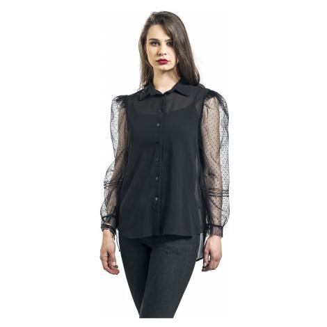 QED London - Organza Sleeves See-Through Shirt - Girls Blouse - black