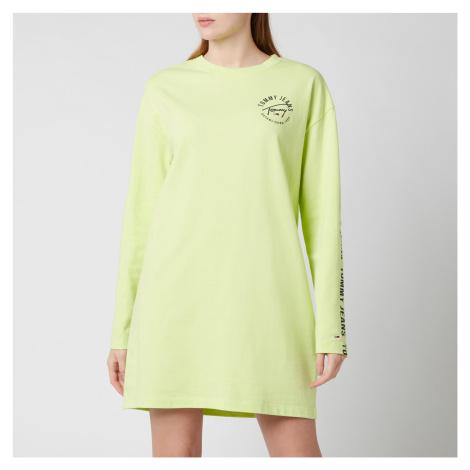 Tommy Jeans Women's TJW Logo Ls Tape T-Shirt Dress - Faded Lime/Multi Tommy Hilfiger