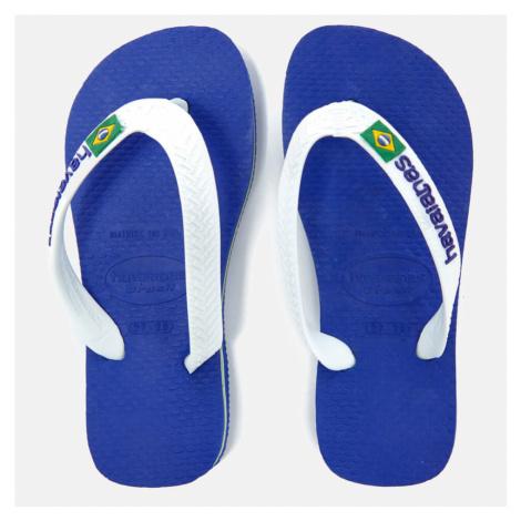 Havaianas Kids' Brasil Logo Flip Flops - Marine Blue - Blue