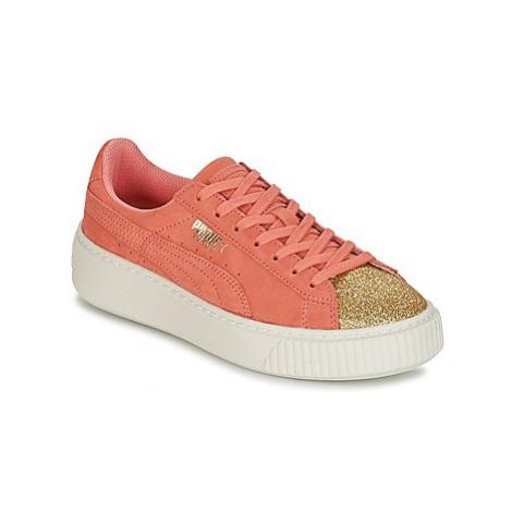 Puma SUEDE PLATFORM GLAM JR girls's Children's Shoes (Trainers) in Orange