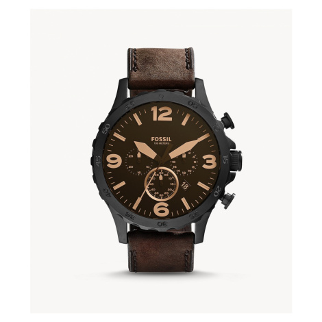 Fossil Men's Nate Chronograph Brown Leather Watch