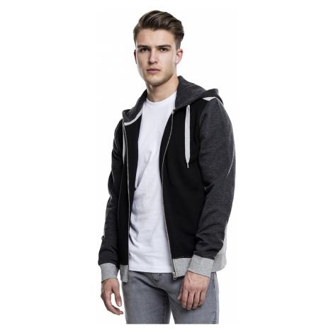 sweatshirt Urban Classics 3-Tone Sweat Zip/TB1817 - Black/Gray/Charcoal
