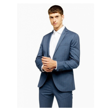 Mens Blue Pinstripe Super Skinny Fit Single Breasted Suit Blazer With Notch Lapels, Blue Topman