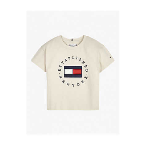 Tommy Hilfiger Girls' Heritage Logo Short Sleeve T-Shirt, Ivory Petal