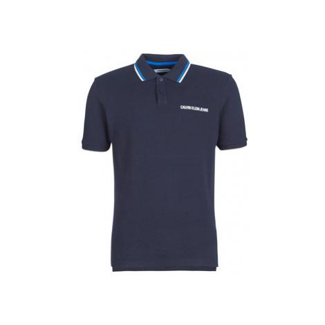 Calvin Klein Jeans INST. COLLAR DIP REG POLO men's Polo shirt in Blue