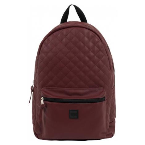 Urban Classics Diamond Quilt Leather Imitation Backpack burgundy
