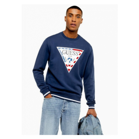 Mens Guess Jeans Blue Martie Fleece Sweatshirt, Blue