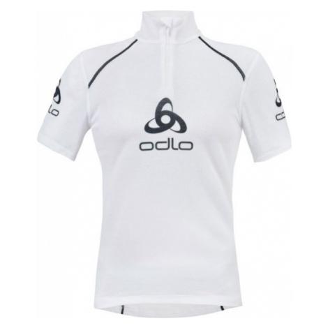 Odlo STAND-UP COLLAR S/S 1/2 ZIP ORIGINALS LIGHT LOGOLINE white - Men's functional T-shirt