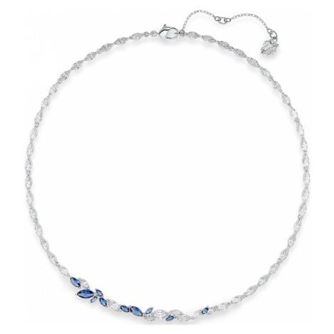 Louison Necklace, Blue, Rhodium plated Swarovski