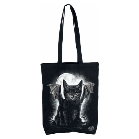 Spiral Bat Cat Fabric bag black