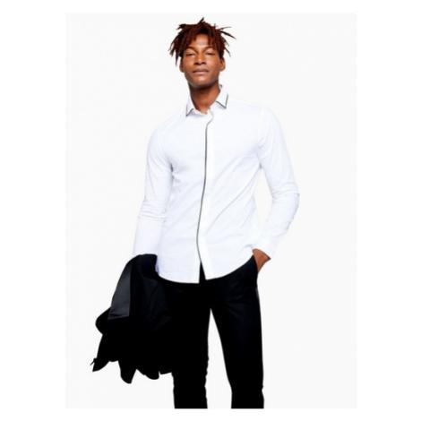 Mens White Piping Detail Stretch Slim Shirt, White Topman