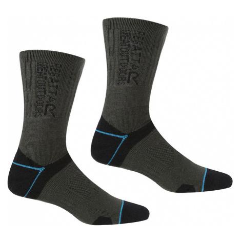 Regatta Womens Blister Protection II Socks (2 Pack)-Black / Ash-6 - 8