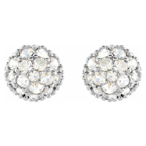 Euphoria Pierced Earrings, White, Rhodium plated Swarovski