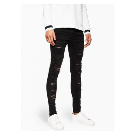 Mens Black Super Spray On Jeans, Black Topman