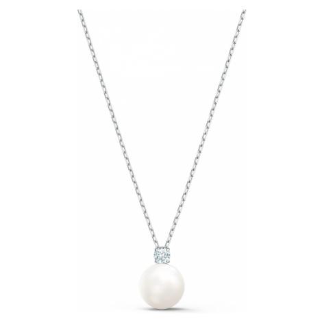 Treasure Pearl Necklace, White, Rhodium plated Swarovski