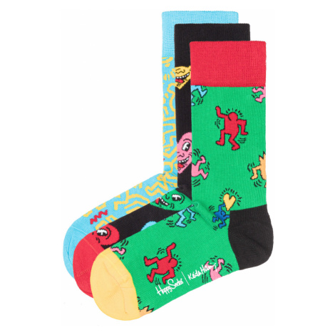 Happy Socks Keith Haring Set of 3 pairs of socks Black Blue Green