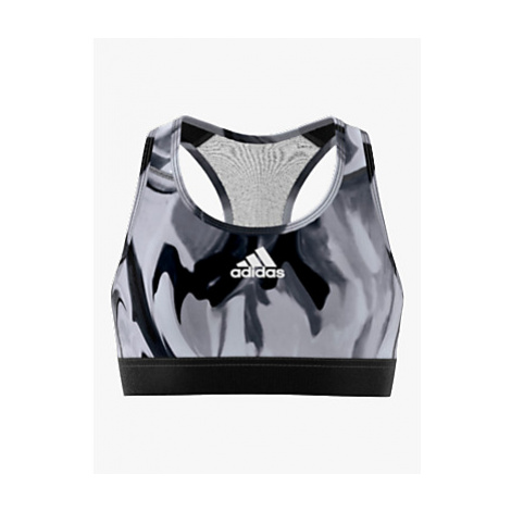 Adidas Girls' Alphaskin Graphic Aeroready Sports Bra, Dash Grey/Glory Grey/Black