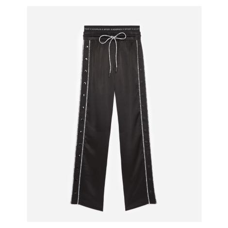 The Kooples - Casual black trousers w/logo trim/press studs - WOMEN The Kooples Sport