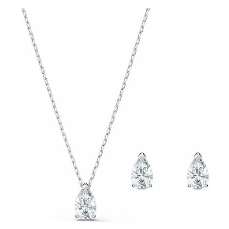 Attract Pear Set, White, Rhodium plated Swarovski