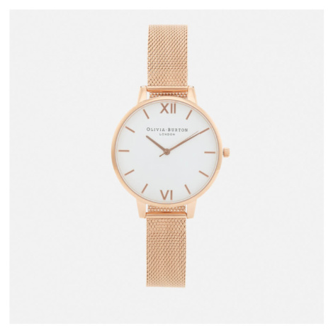 Olivia Burton Women's Big Dial White Dial Watch - Rose Gold Mesh