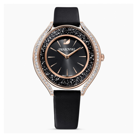 Crystalline Aura Watch, Leather strap, Black, Rose-gold tone PVD Swarovski