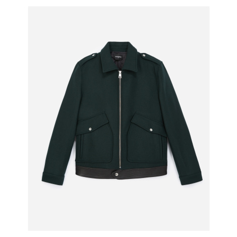 The Kooples - Dark green wool jacket with leather pockets - MEN
