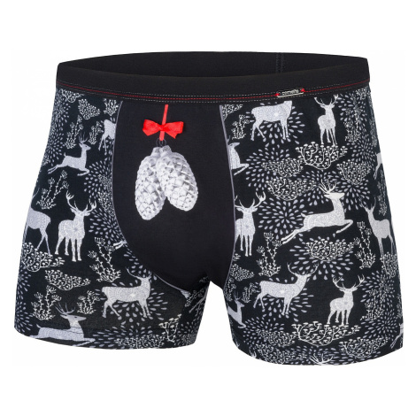 shorts Cornette Merry Christmas Pine Cones - Black - men´s
