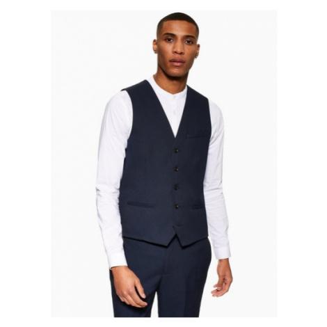 Mens Navy Skinny Fit Textured Suit Waistcoat, Navy Topman