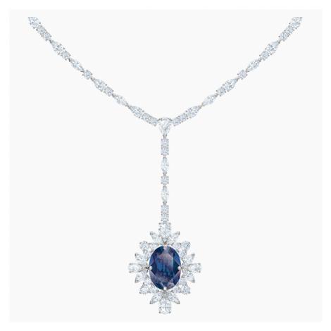 Palace Y Necklace, Blue, Rhodium plated Swarovski