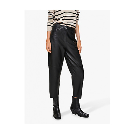 Selected Femme Agnes Leather Trousers, Black