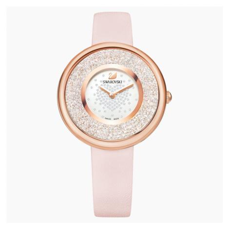Crystalline Pure Watch, Leather strap, Pink, Rose-gold tone PVD Swarovski