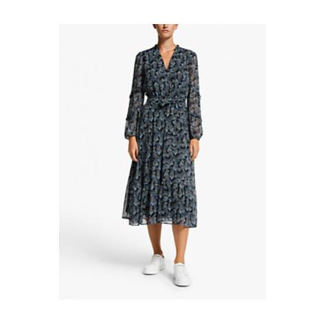 Marella Lina Paisley Ruffle Midi Shirt Dress, Black/Multi
