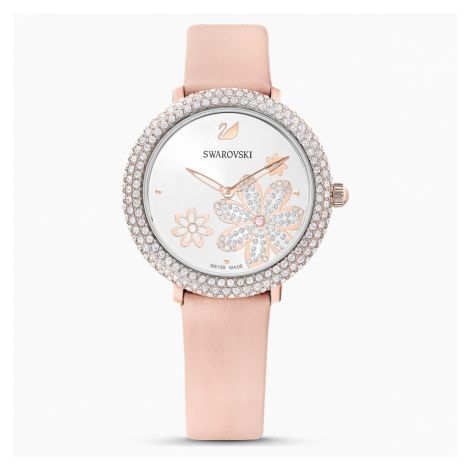 Crystal Frost Watch, Leather strap, Pink, Rose-gold tone PVD Swarovski