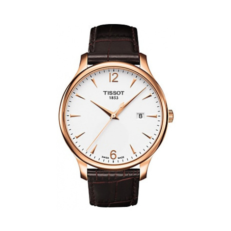 Tissot T0636103603700 Men's Tradition Date Leather Strap Watch, Dark Brown/White