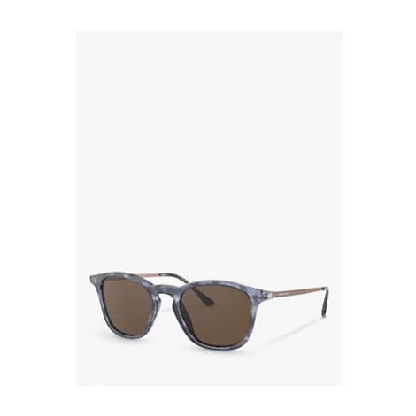 Giorgio Armani AR8128 Men's Oval Sunglasses, Havana Blue/Brown
