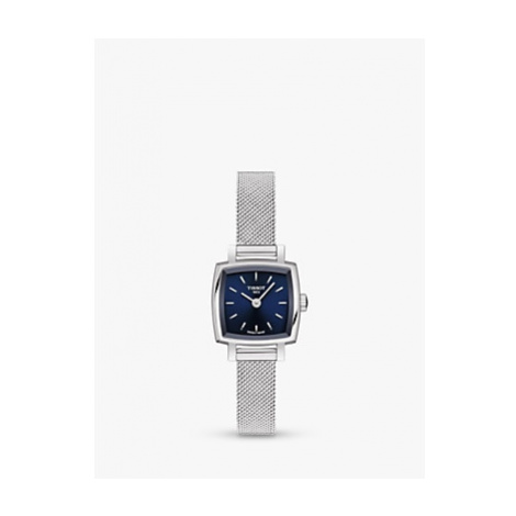 Tissot T0581091104100 Women's Lovely Square Bracelet Strap Watch, Silver/Blue