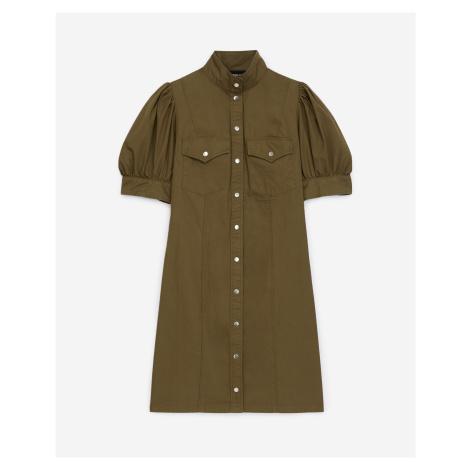 The Kooples - Shirt-style buttoned khaki dress in cotton - WOMEN