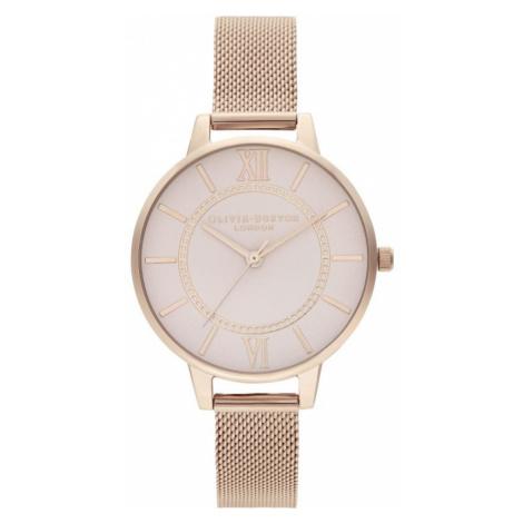 Ladies Olivia Burton Wonderland Grey Dial Pale Rose Gold mesh Watch