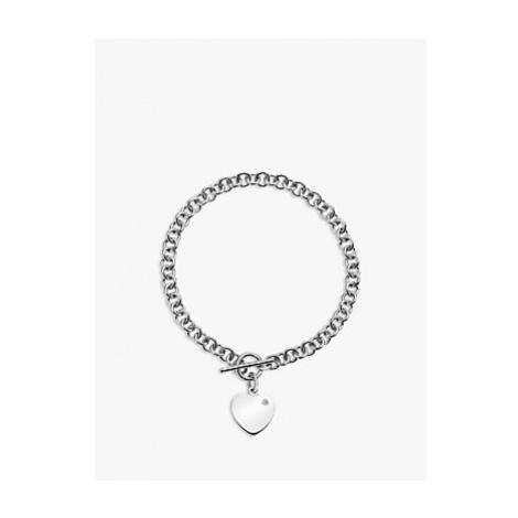 Hot Diamonds Love Locked Heart Charm Chain Bracelet, Silver