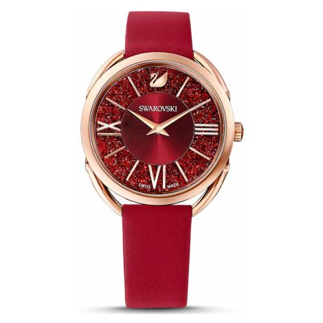 Crystalline Glam Watch, Leather strap, Red, Rose-gold tone PVD Swarovski
