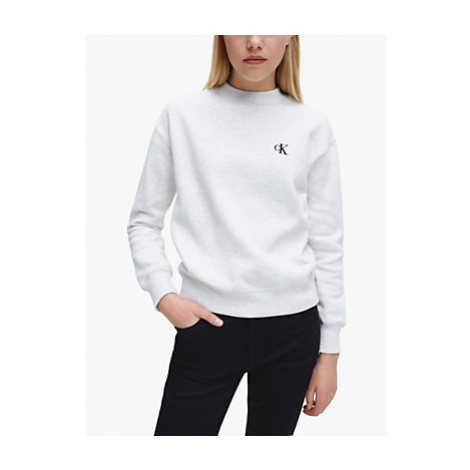 Calvin Klein Performance Embroidery Crew Neck Jumper, White Grey Heather