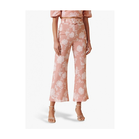 Forever New Amara Floral Linen Blend Flared Trousers, Coral