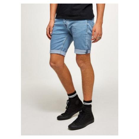 Mens Blue Bleach Denim Skinny Shorts, Blue Topman