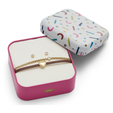 Fossil Women Heart Gold-Tone Stainless Steel Studs And Bracelet Box Set - One size