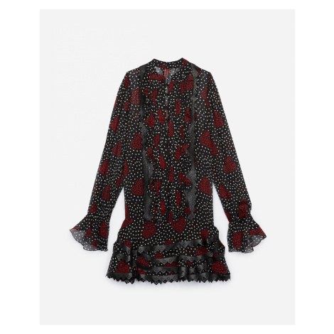 The Kooples - Short flounced dress with heart bouquet print and leather details - WOMEN