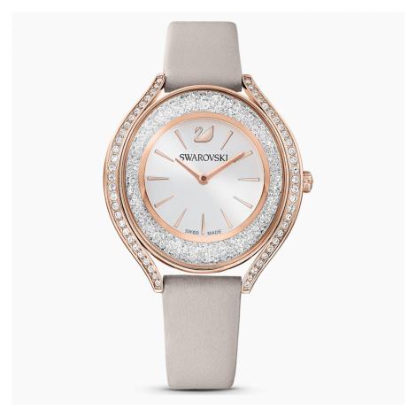 Crystalline Aura Watch, Leather strap, Grey, Rose-gold tone PVD Swarovski