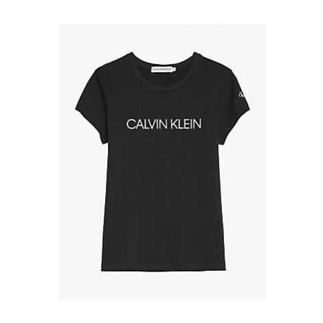 Calvin Klein Girls' Organic Cotton Institutional Logo Slim T-Shirt